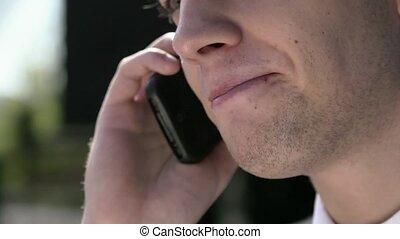 téléphone portable, jeune, parler, homme