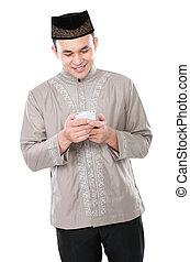 téléphone portable, musulman, tenue, homme