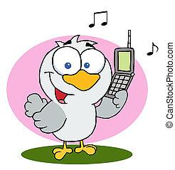 téléphone portable, oiseau, tenue, appeler