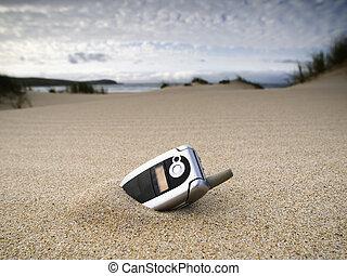 téléphone portable, plage, oublié