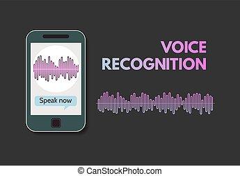 téléphone portable, programme, reconnaissance, voix