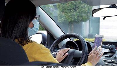 téléphone portable, signes, chèques, route, chauffeur, voiture, elle