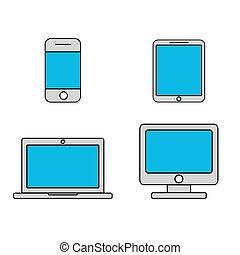 téléphone portable, tablette, ordinateur portable, bureau