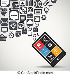 téléphone portable, voler, moderne, icônes