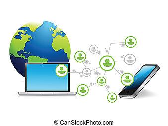 téléphone, réseau informatique, communication