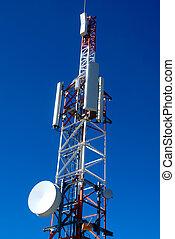 téléphone, relais, antennes, profond, bleu ciel, mobile