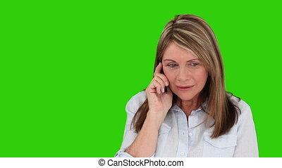 téléphone, retiré, conversation, femme
