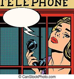 téléphone, retro, pleurer, girl, rouges, cabine