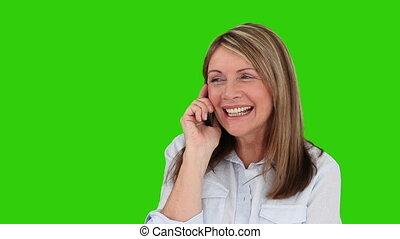 téléphone, rire, retiré, femme