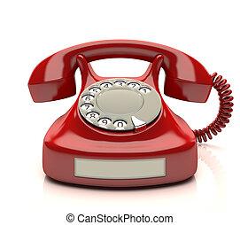 téléphone, rouges, étiquette