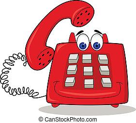 téléphone, rouges, dessin animé
