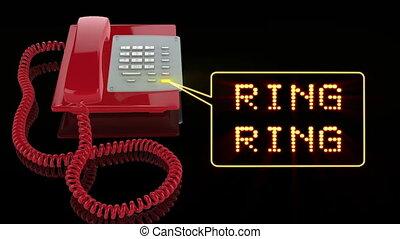 téléphone, rouges, urgence, anneau