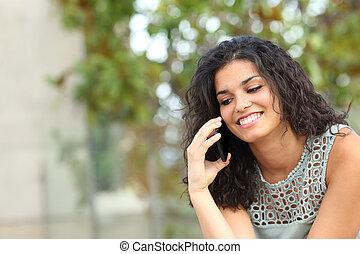 téléphone, séance, parc, conversation, dame, heureux