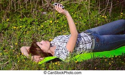 téléphone, selfie, girl, ton