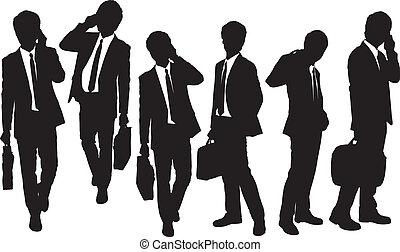 téléphone, silhouettes, hommes, parler, business