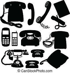 téléphone, silhouettes, vecteur