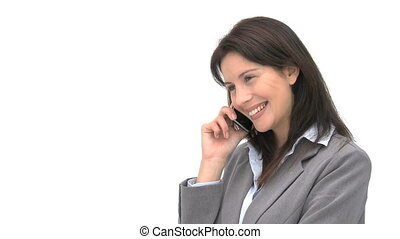 téléphone, sourire, conversation, femme affaires