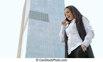 téléphone, sur, affaires femme, conversation