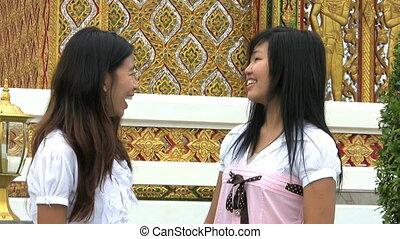 téléphone, talking-cell, filles, asiatique