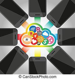 téléphone, technologie, groupe, nuage, intelligent