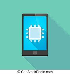 téléphone, unité centrale traitement, icône, long, ombre