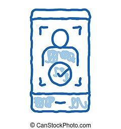 téléphone, vérification, griffonnage, icône, dessiné, illustration, personne, main