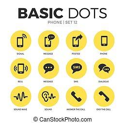 téléphone, vecteur, ensemble, plat, icônes