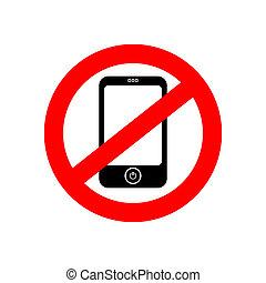 téléphone, vecteur, non, signe