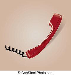 téléphone, vecteur, rouges, illustration, icône