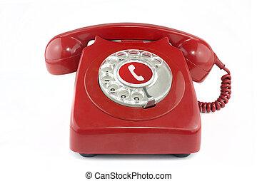 téléphone, vieux, 1970's, rouges