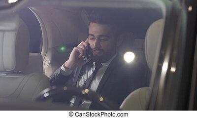téléphone, voiture, jeune, conversation, luxe, homme affaires, mâle