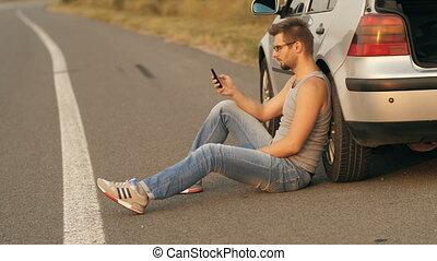 téléphone, voiture, séance, cellule, cassé, homme