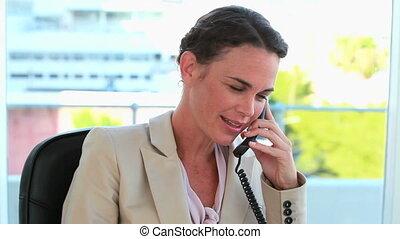 téléphoner, bien-habillé, femme