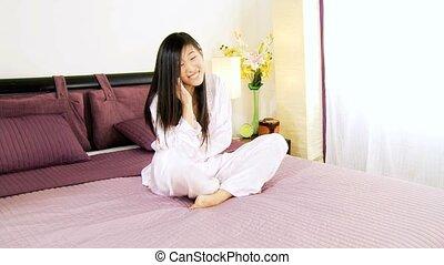 téléphoner femme, amour, asiatique