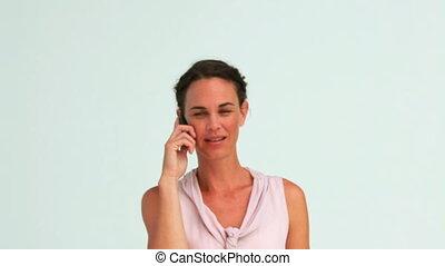 téléphoner femme, bien-habillé, sérieux