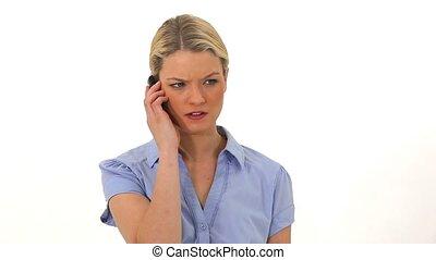 téléphoner femme, blond, désordre