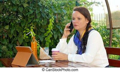 téléphoner femme, business, conversation