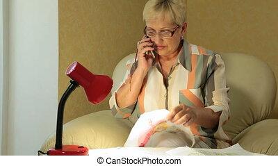 téléphoner femme, mûrir, conversation