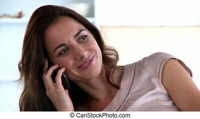 téléphoner femme, radiant, conversation