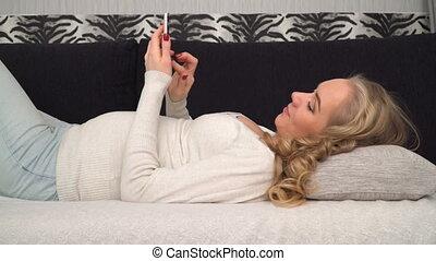 téléphoner femme, renverser, intelligent, pregnant