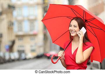 téléphoner femme, rouges, intelligent, conversation