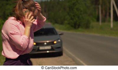 téléphoner femme, secours, service, conversation