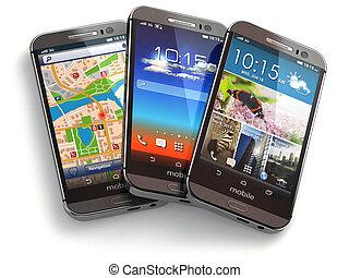 téléphones mobiles, blanc, isolé, arrière-plan.