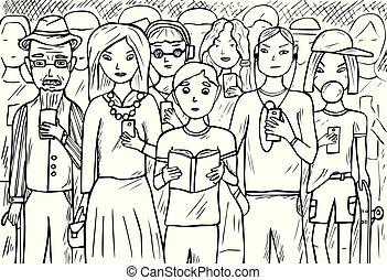 téléphones mobiles, groupe, gens