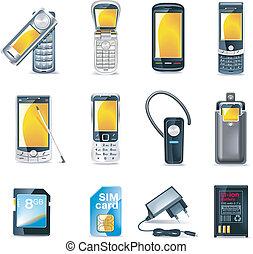 téléphones mobiles, vecteur, ensemble, icône