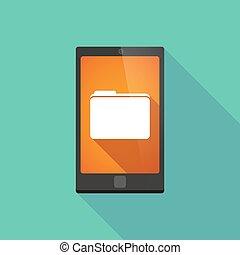 téléphonez icône, dossier, long, ombre