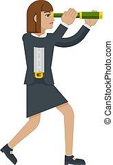 télescope, affaires femme, concept, longue-vue