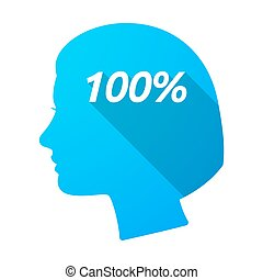 tête, 100%, isolé, femme, texte