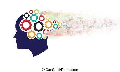 tête, abstraction, 1080, psychology., esprit, mouvement, pensée, graphique, engrenages, mémoire, formation, hd, dust.
