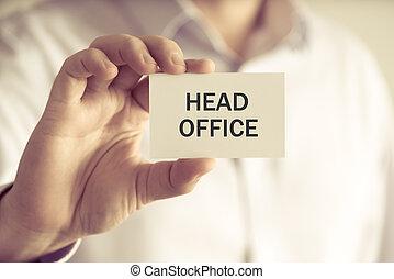 tête, bureau, tenue, homme affaires, message, carte